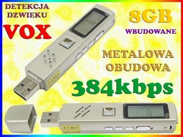 MINI Dyktafon CYFROWY PODSŁUCH 384kbps LCD DETEKCJA DŹWIĘKU VOX PAMIĘĆ WBUDOWANA