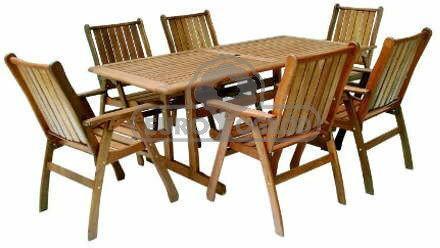 Hecht Meble Ogrodowe Chicago Set Stół + 6 Krzeseł Drewno 8594061745243