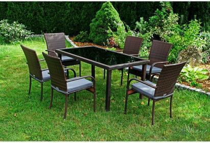 Sapphire Zestaw mebli z technorattanu SANTOS - stół + 6 krzeseł, poduszki GRATIS