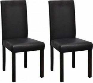 Czarne, skóra krzesła jadalniane (2 sztuki).