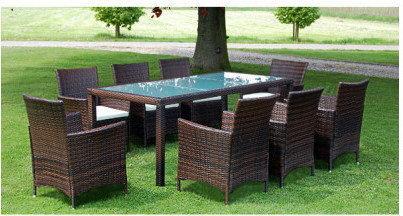 Meble ogrodowe rattanowe brąz stół + 8 krzeseł