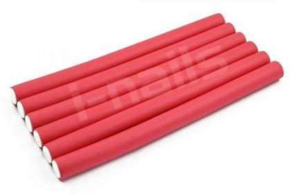 Ingrid Papiloty gumowe wałki do włosów 240x16mm 8szt czerwone