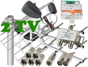 Zestaw antenowy dla 2 TV: 17/21-69 TRI DIGIT MINI + wzmacniacz LNA-177 + zasilac