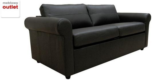 Klasyk Sofa rozkładana - czarna skóra