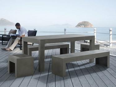 Beliani Zestaw mebli betonowych - Meble ogrodowe - Stol dwie lawki i dwa krzesla