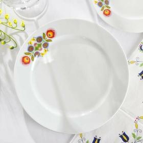 Chodzież Talerz Obiadowy Płytki Porcelanowy Folk Biały 24 Cm Wh