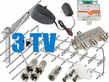 Zestaw antenowy dla 3 TV: TRI-DIGIT PLATINUM + wzmacniacz LNA-177 + zasilacz ant