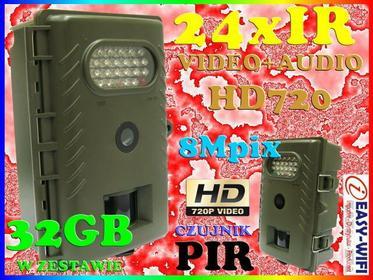 KAMERA LEŚNA MYŚLIWSKA FOTOPUŁAPKA 8M 24xIR R20 HD 1280x720 DZIEŃ/NOC + KARTA KI