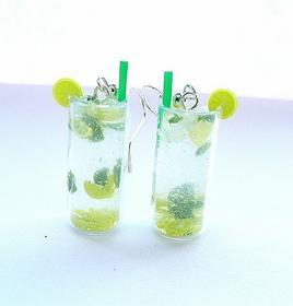 Dawanda Kolczyki miniaturowe drinki Mojito