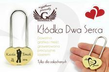 GRAWERNIA.PL Kłódka Dwa Serca - symbol nierozerwalnej miłości, prezent na ślub,