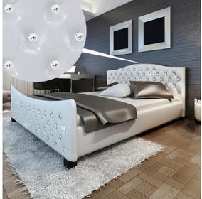 Łóżko Skóra wysoki połysk z kryształkami 180x200cm Białe