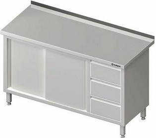 Stół przyścienny z blokiem trzech szuflad po prawej stronie i szafką z drzwiami