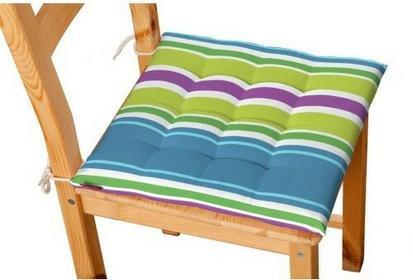 Dekoria Siedzisko Karol na krzesło Fleur pasy niebiesko-zielono-fioletowe
