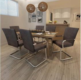 Nowoczesne krzesła jadalniane, piękna eko skóra Brąz x6