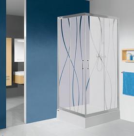 Sanplast KN/TX5b-100+Bza 100x100 profil srebrny błyszczący szkło W0 + brodzik