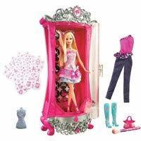 Mattel Barbie w świecie mody - Magiczna szafa brokatująca V1644