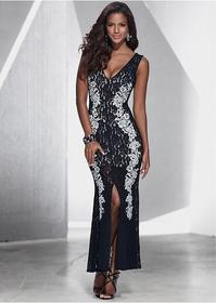 Bonprix Sukienka koronkowa czarno-srebrny 923695
