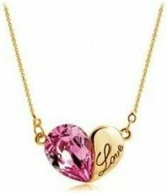 Swarovski NHE04 Naszyjnik Love Serce HEART kryształ róż+złoto