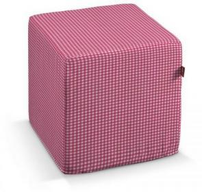 Dekoria Pokrowiec na pufę kostke Baby różowa kratka