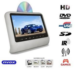 NVOX 9 Monitor zagłówkowy LED HD z DVD USB SD IR FM GRY DV9917HD