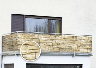 WENKO Osłona balkonowa z motywem kamienia dekoracyjnego - 500 x 85 cm - łupek 79
