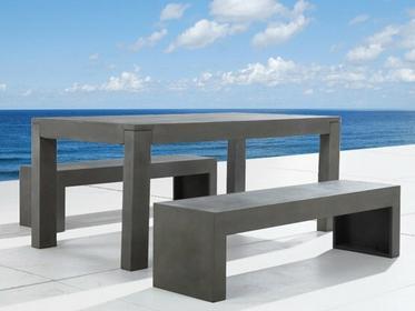 Beliani Zestaw mebli betonowych - Meble ogrodowe - Stol i dwie lawki z betonu -