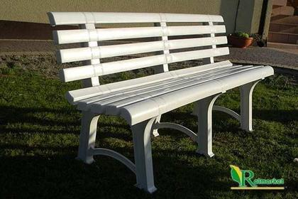 Włoski Solina plastikowa ławka ogrodowa ATENA z oparciem - biała