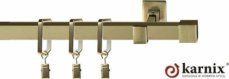 Karnix Karnisz Kwadratowy Moderno pojedynczy 20x20mm Napoli antyk mosiądz