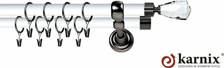 Karnix Karnisz Metalowy Prestige podwójny 25/19mm Travo Crystal Antracyt - biały