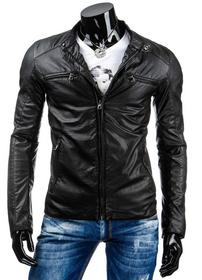 czarna kurtka skórzana męska(tx0892)
