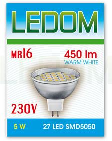 Ledom Żarówka 27 LED MR16 SMD5050 230V 5W BC 245350