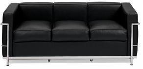 D2 Sofa 3-osobowa Soft GC czarna skóra