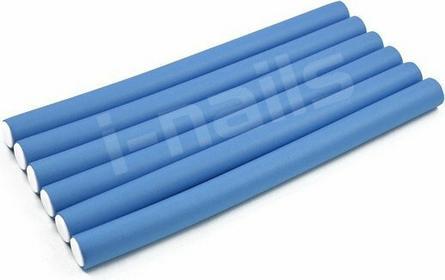 papiloty gumowe wałki do włosów 240x12mm 6szt - niebieskie