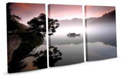 DobryObraz Trzy prostokąty - Chiński sampan we mgle 0344 - obraz na płótnie