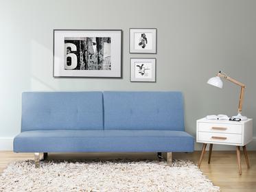 Beliani Sofa z funkcja spania niebieska - kanapa rozkladana - wersalka - DUBLIN niebieski
