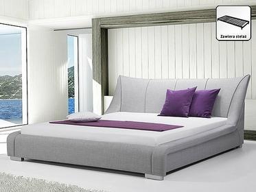 Beliani Nowoczesne łóżko Tapicerowane ze stelazem 180x200 cm - NANTES szare szar