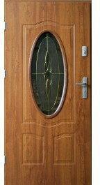 Drzwi zewnętrzne z witrażem Ellisse 90 Lewe Złoty Dąb