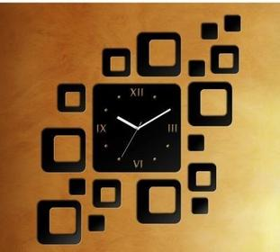 IKEA Zegar ścienny KWADRATY 3D, na ścianę DIY, klasyczny