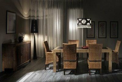 Bortoli Komplet z bambusa prasowanego i rattanu - Stół Hotel 200x100 i 6 krzeseł
