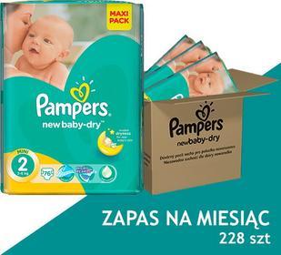 Pampers Active New Baby 2 MINI (3-6 kg), 228 sztuk - ZAPAS NA MIESIĄC