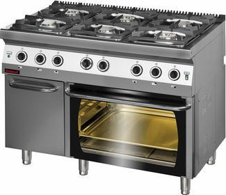 Kromet Kuchnia gazowa 6-palnikowa z piekarnikiem elektrycznym 700.KG-6/PE2