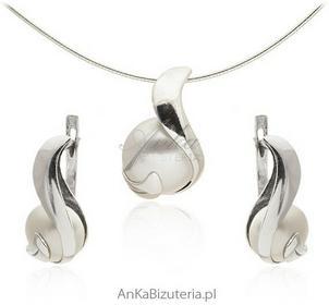 AnKa Biżuteria Biżuteria srebrna komplet - komplet z białą perłą