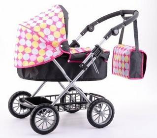 Johntoy Girls World - Wózek dla lalek Luxus z torbą na akcesoria do przewijania