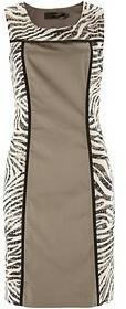 Bonprix Sukienka w paski zebry 949935_48048 brunatno-biały zebra