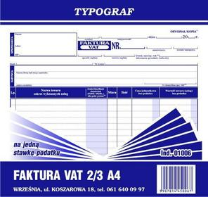 Typograf Faktura VAT na jedną stawkę podatku 2/3 A4
