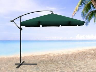 Beliani Parasol ogrodowy na wysiegniku - stojak metalowy - zielony