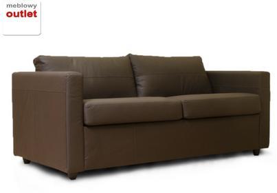 Gulden Sofa rozkładana skórzana - ciemny brąz