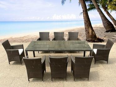 Beliani Rattanowe meble ogrodowe ze stolem 220cm plus 8 krzesel komplet ITALY br