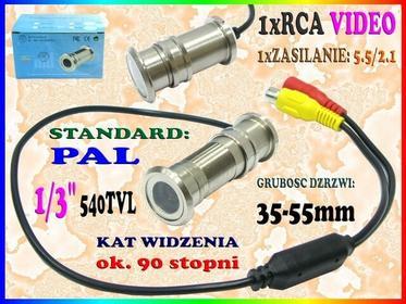 UKRYTA Kamera CCTV DO DRZWI WIZJER JUDASZ 540TVL KOLOROWY SZEROKOKĄTNY MONITORIN