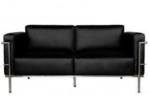 D2 Sofa 2-osobowe Soft GC czarna skóra 12803
